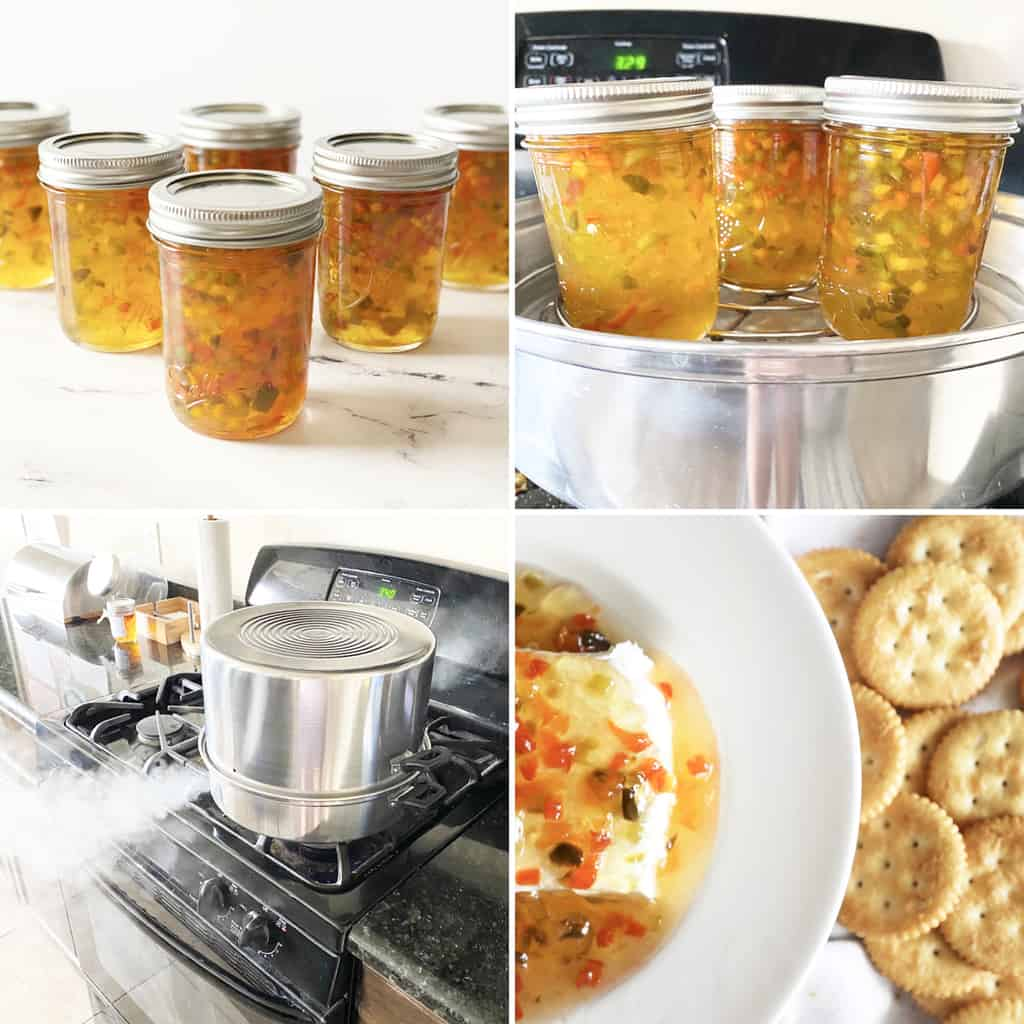 four photos showing the steps for canning pepper jelly
