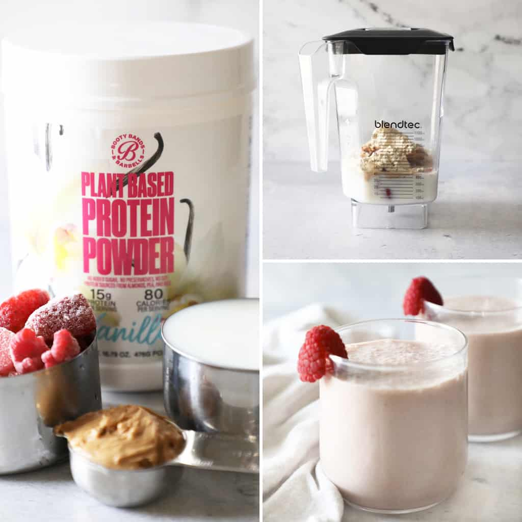 collage image of how to make a peanut butter smoothie