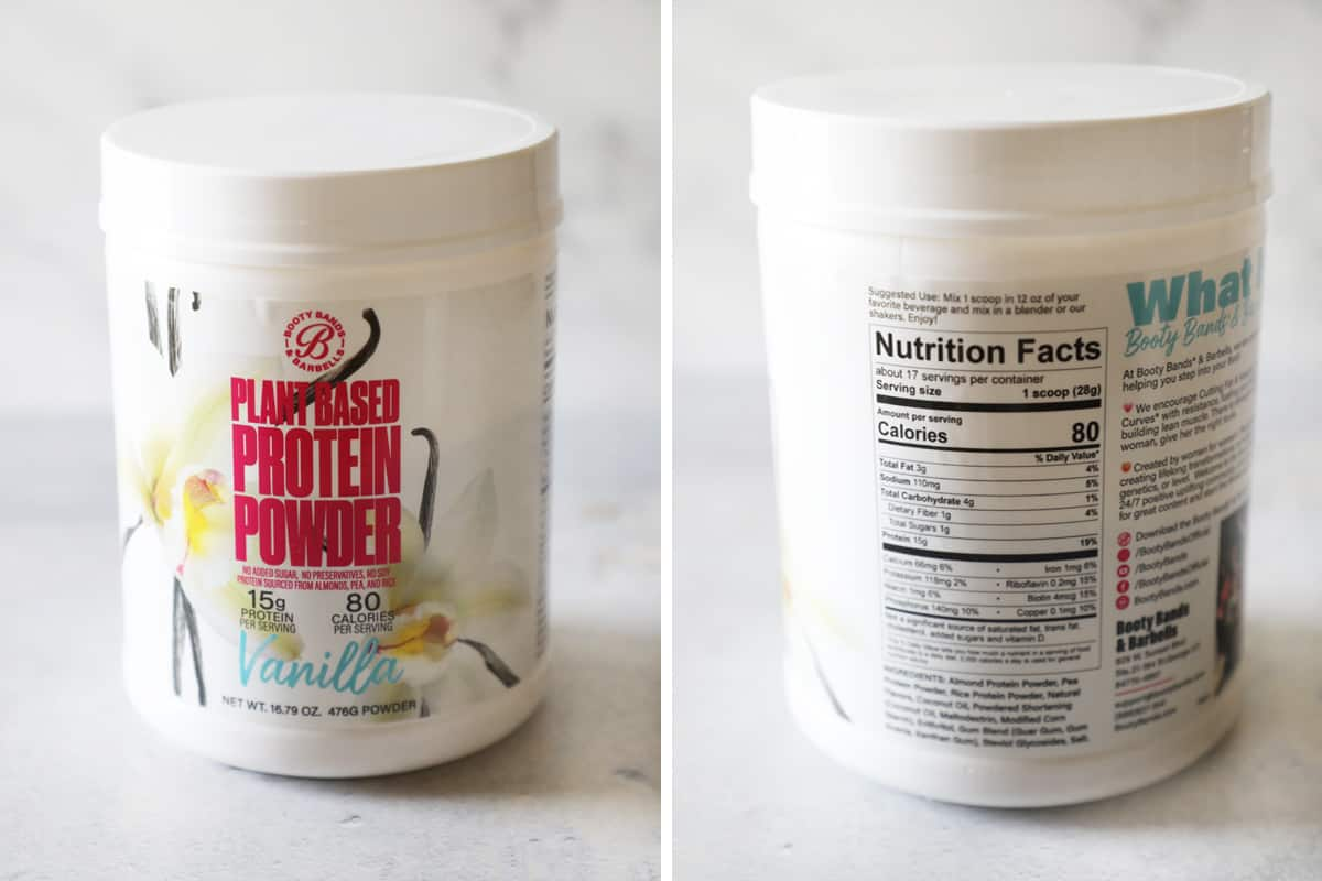 close up of table on the best plant based protein powder
