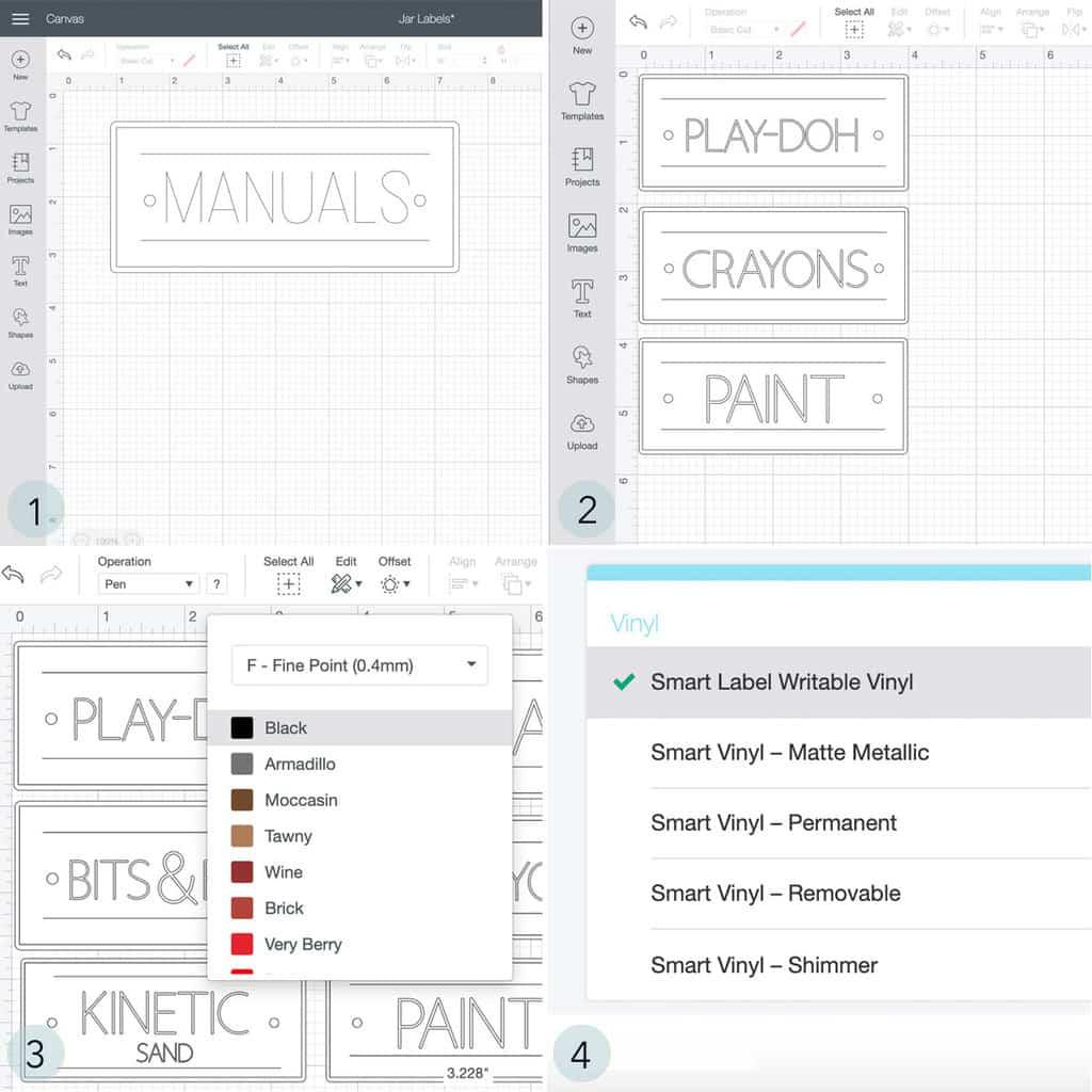 Collage d'étapes pour concevoir des étiquettes dans Cricut Design Space