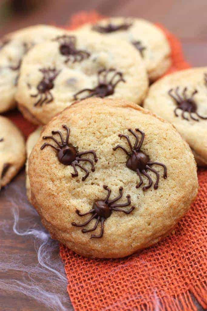 Chocolate chip cookies with spiders made from the chocolate chips