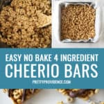 steps for how to make cheerio bars recipe with text for pinterest