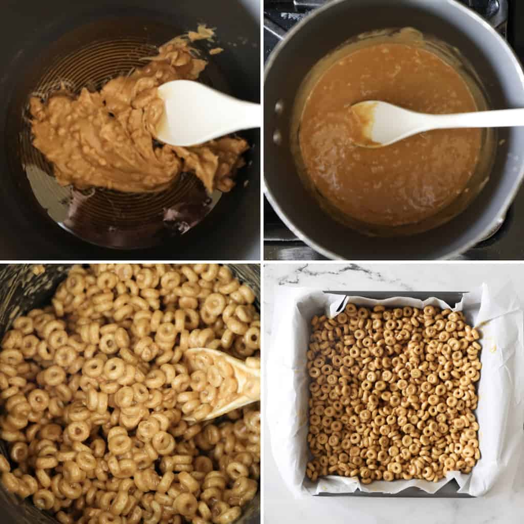 four images showing steps for making cheerio bars recipe