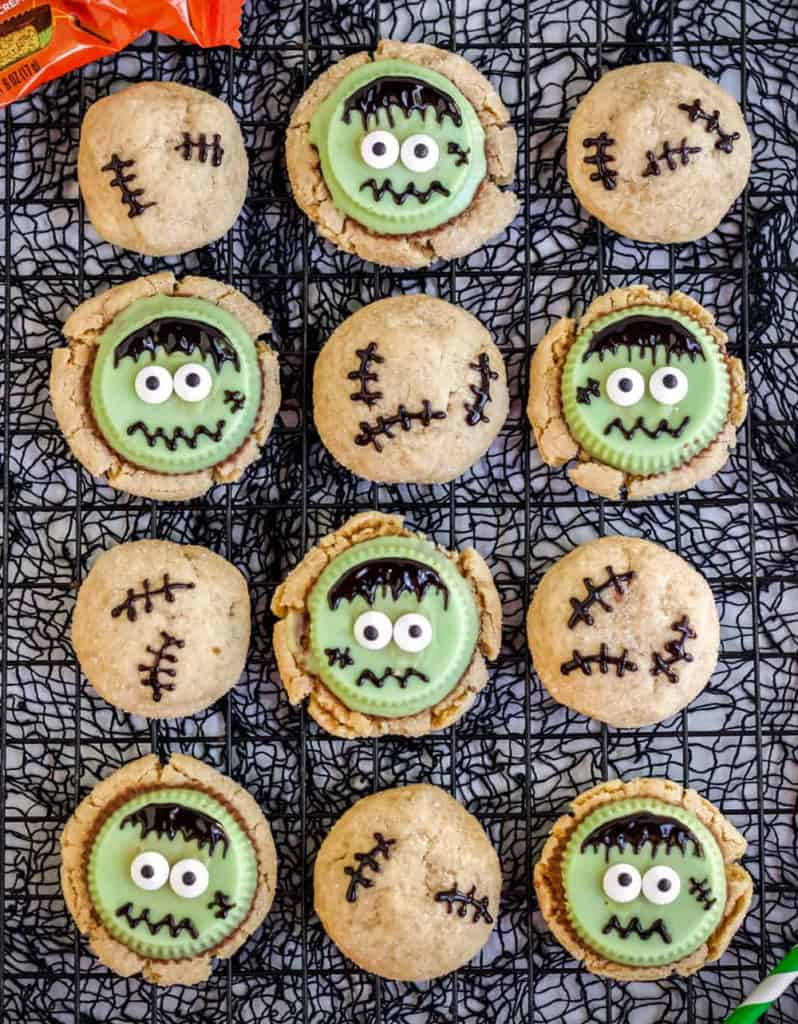 Peanut butter cookies with frankensteins made from green Reeses peanut butter cups