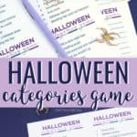 Hallowen categories game printed on white paper, with a purple pen and gold spiders on top of it, on a dark blue surface.