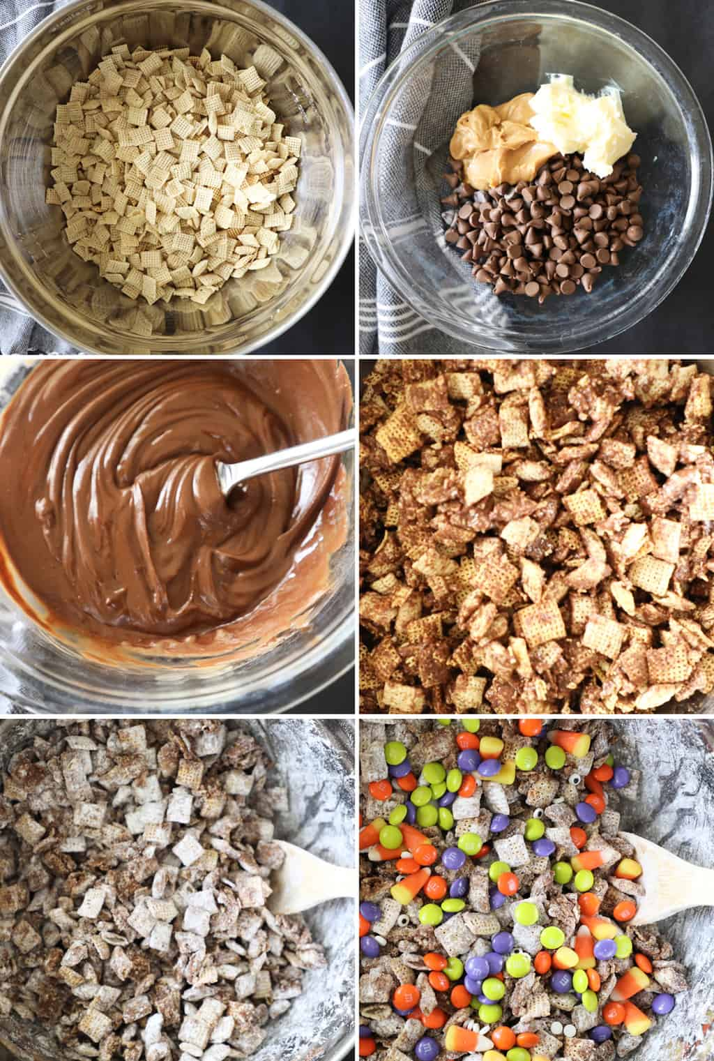 step by step photos showing how to make halloween Chex mix