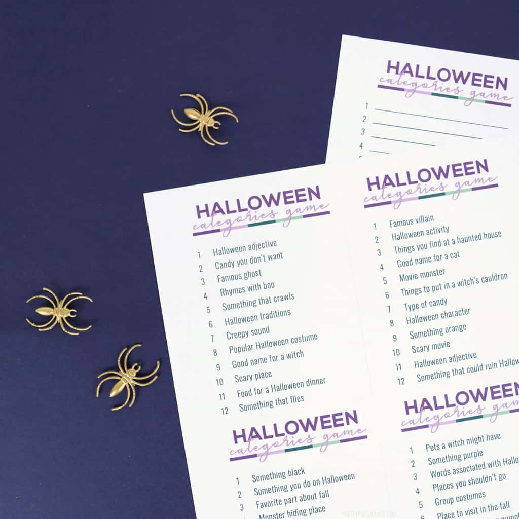 Halloween scattergories lists with a purple marker on navy blue background with gold spiders