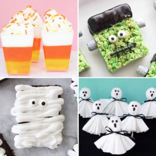 Collage of Halloween treats, candy corn jello, frankenstein rice krispie treat, mummy brownie and ghost lollipops