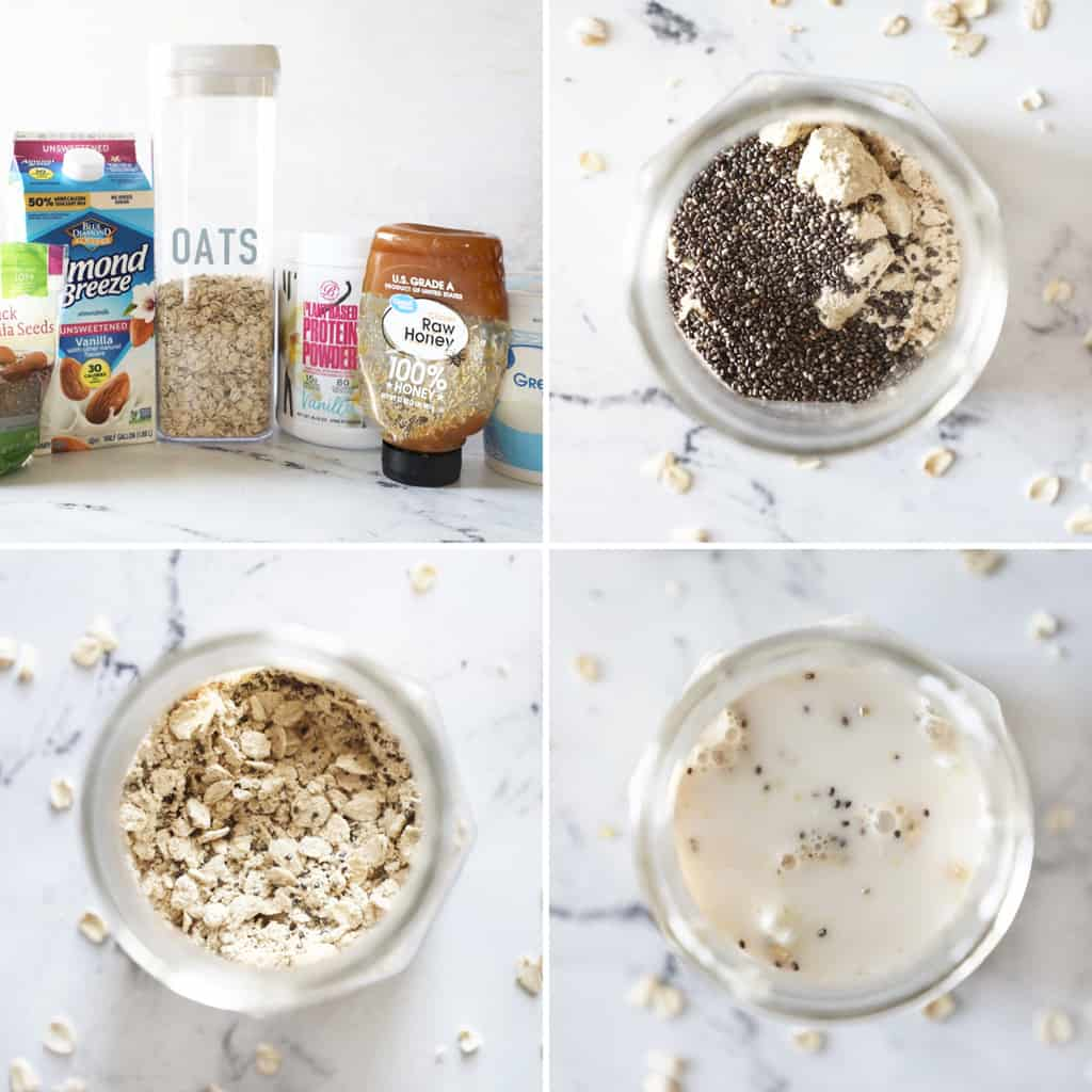 step by step photo collage showing process of making protein oats