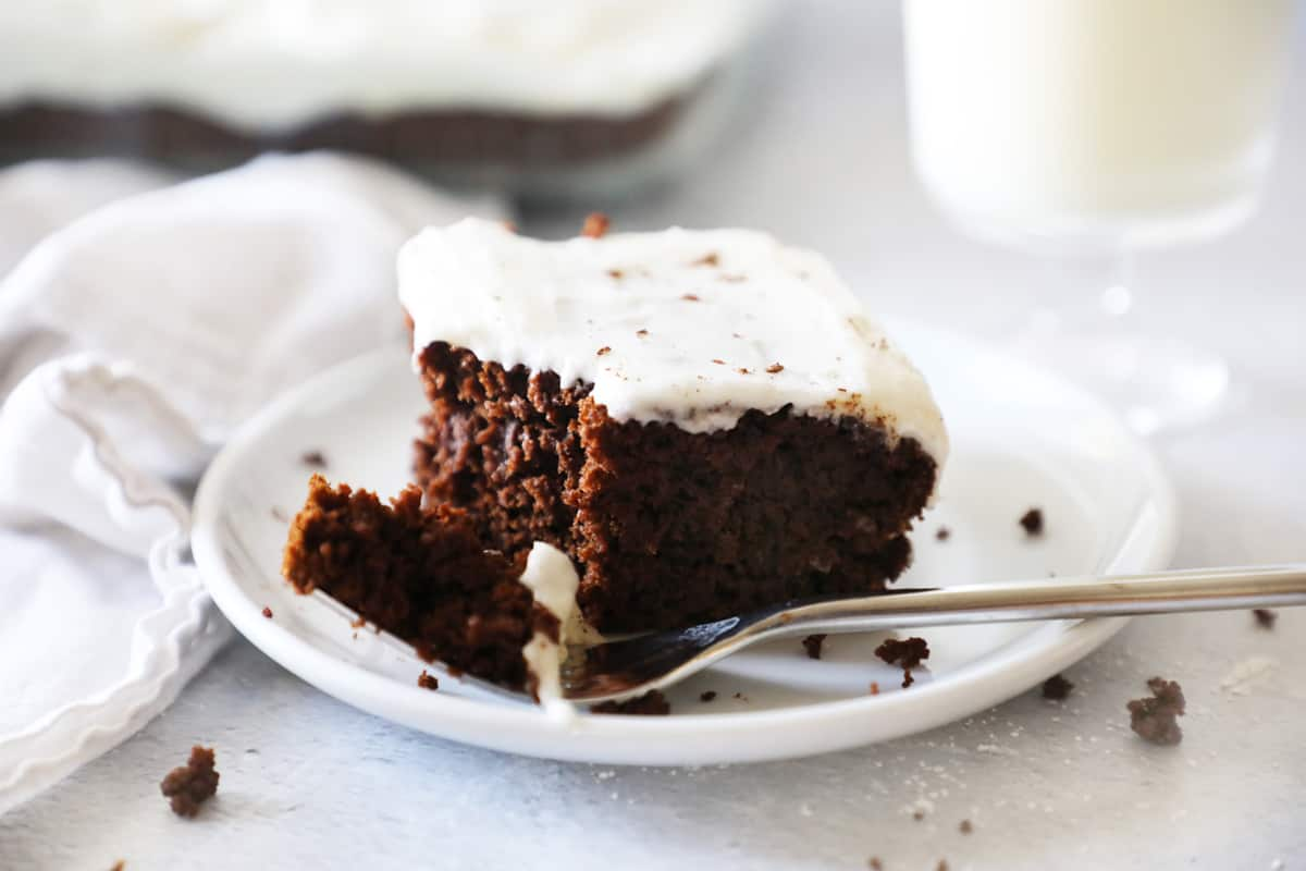 chocolate pumpkin cake with a bite out of it on a fork