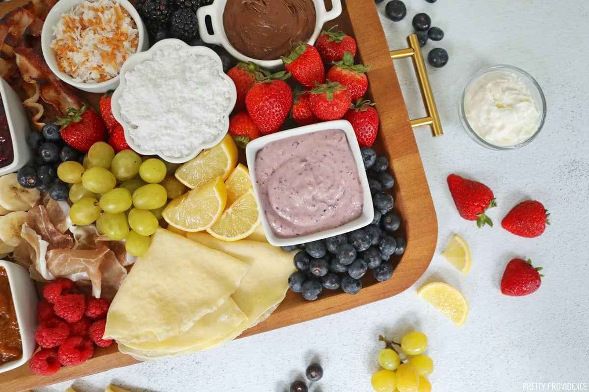 Crepe toppings on a breakfast charcuterie board