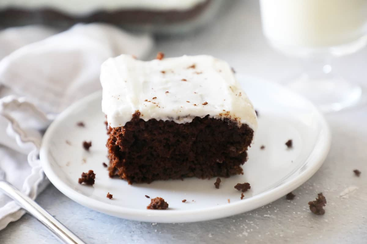 chocolate cake on a small white plate next to milk and a fork