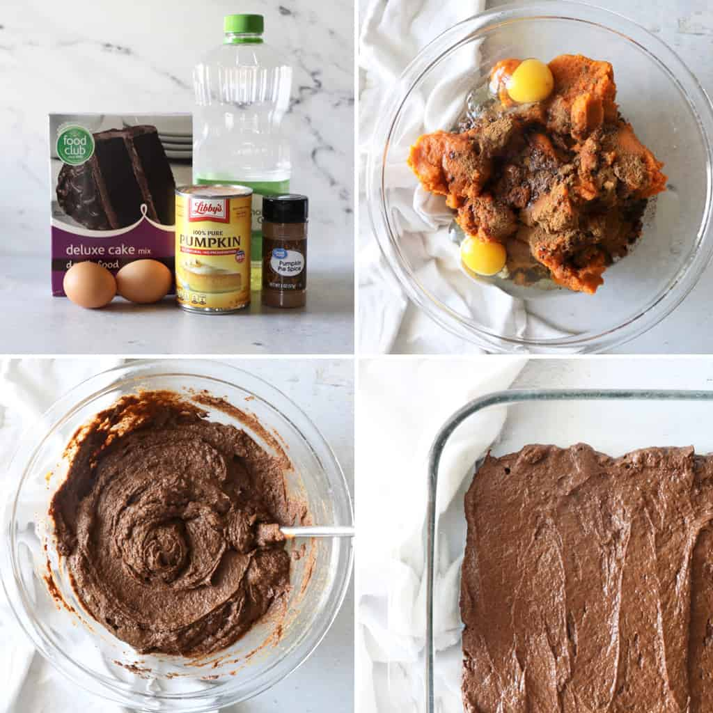 step by step photo collage of how to make chocolate pumpkin cake