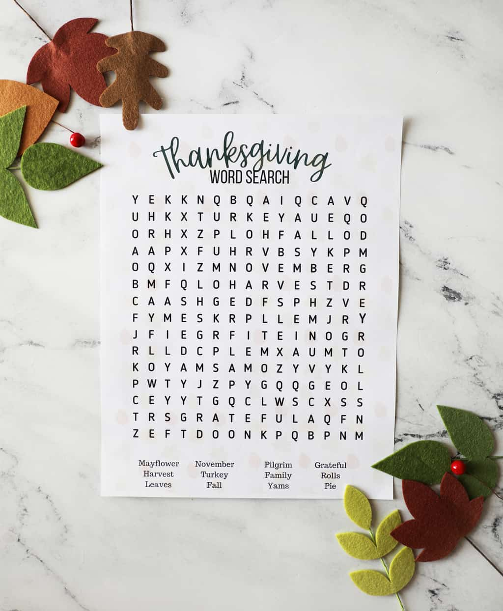 fall word search printable on a pretty countertop