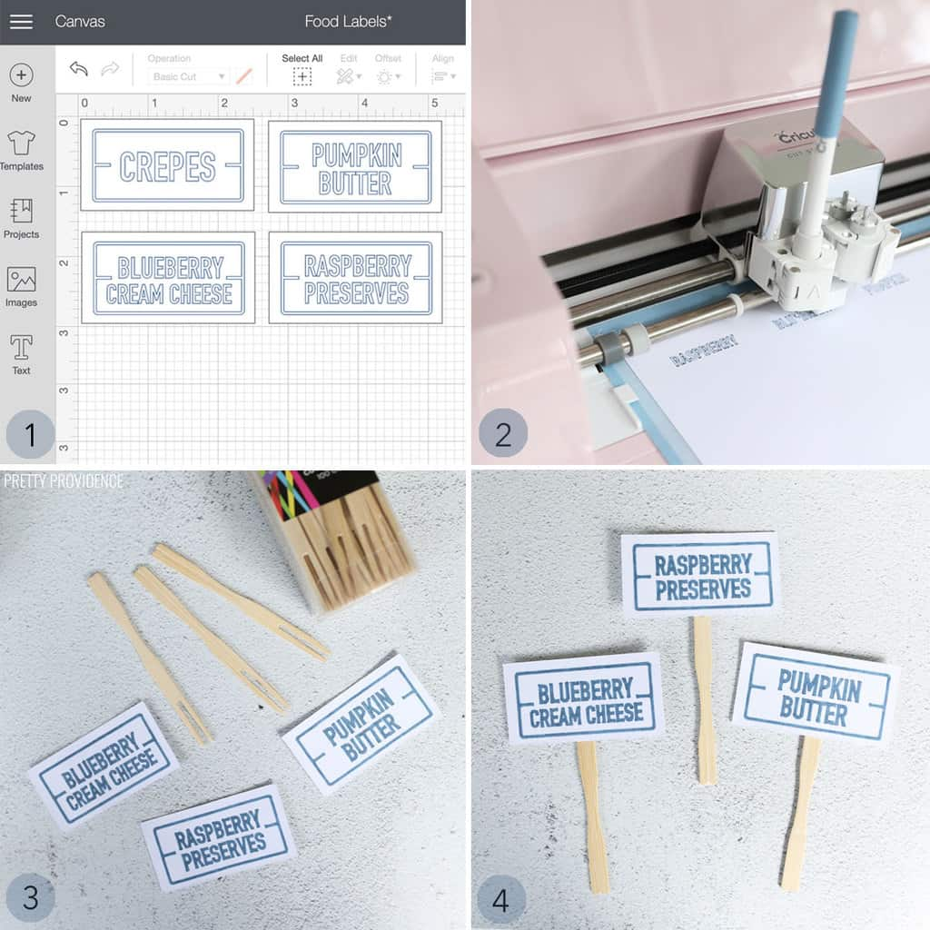 Collage of making food labels with Cricut machine, white card stock food labels on sticks that say 'raspberry preserves' 'pumpkin butter' and 'blueberry cream cheese'