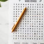 thanksgiving word search printable with a marker on it and text overlay for pinterest