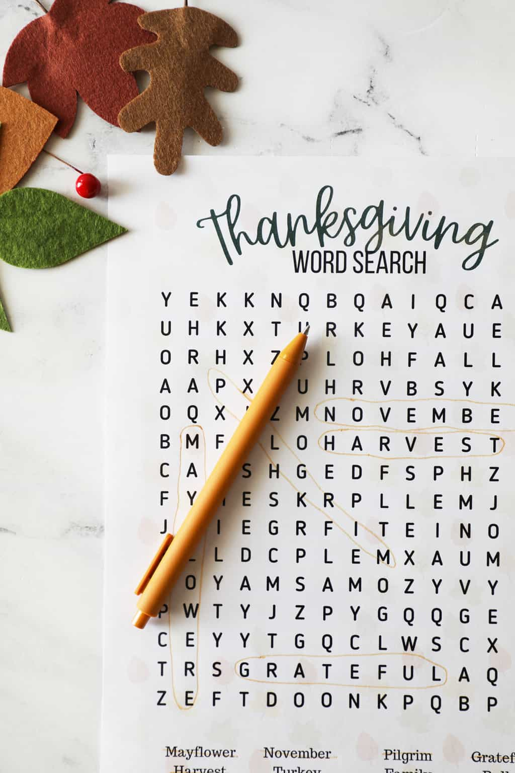 Thanksgiving word search with leaves in the corners
