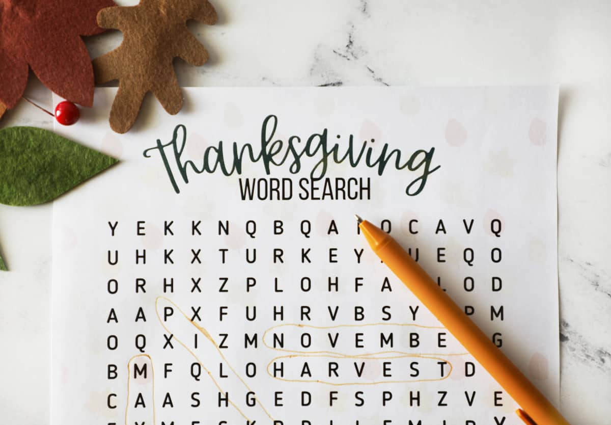 thanksgiving word search printable up close with an orange pen